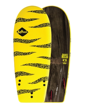 Softech Rocket Launch 4'2 Yellow &  Black Soft Top Softboard + Leash & Wax-soft-HYDRO SURF