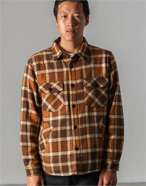 Brixton Trucker Jacket - Brown Plaid-jackets-HYDRO SURF