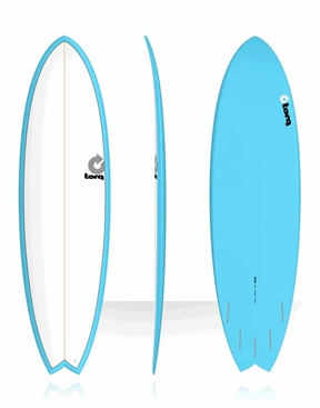 "Torq 6'6"" Mod Fish Surfboard Blue and White-fun-HYDRO SURF"