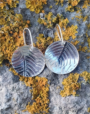 Silver & Copper Earrings - Fern  Leaf patterned-jewellery-HYDRO SURF