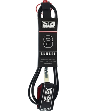 Ocean & Earth Sunset 8 Moulded Leashes -hardware-HYDRO SURF