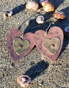 Copper & Brass Textured Heart Earrings-jewellery-HYDRO SURF