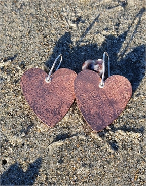 Textured Copper Heart Earrings-accessories-HYDRO SURF