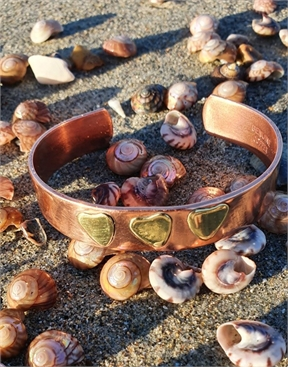 Copper Cuff Bracelet with Brass Hearts-jewellery-HYDRO SURF