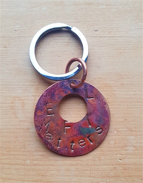 Handmade copper disk keyring Fundraiser Life Matters Suicide prevention Trust-keyrings-HYDRO SURF